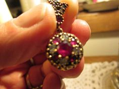 Vintage Art Deco 1/2ctw Ruby & Icy White Sapphire Rose Gold/925 Sterling Silver Pendant Wt. 4.3g, 1 Inch Long