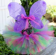 Baby Tutu, Child Tutu, Girl Tutu, Butterfly Birthday Party Tutu and  Purple Butterfly Wings Set, Newborn to 9 Months
