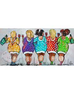Vrolijk Schilderij Dames met creme
