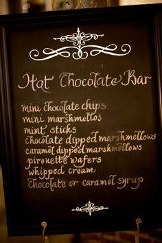Cute chalkboard and cute Hot Chocolate Bar idea! (From Janette Ballard)