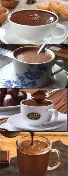 UM DELICIOSO CHOCOLATE QUENTE CREMOSO; Veja Aqui >>> Em um liquidificador, bata o leite, o amido de milho, o chocolate em pó e o açúcar #receita#bolo#torta#doce#sobremesa#aniversario#pudim#mousse#pave#Cheesecake#chocolate#confeitaria#lanche