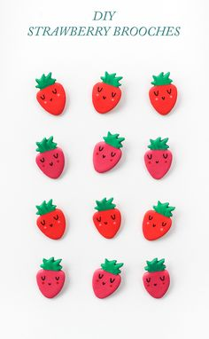 Dress up your wardrobe in no time with these diy clay strawberry brooches! Dress up your wardrobe in no time with these diy clay strawberry brooches! Cute Diy Projects, Crafty Projects, Cute Crafts, Diy And Crafts, Crafts For Kids, Arts And Crafts, Polymer Clay Projects, Diy Clay, Clay Magnets