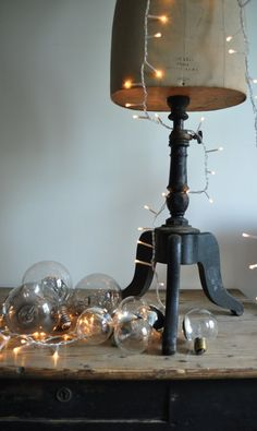 Brown dress with white dots. Lamp. Christmas Lights. Interior. Cream. www.origin-of-style.com