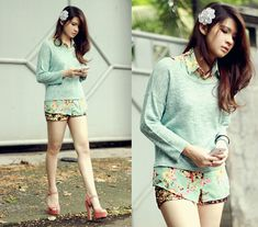 Anastasia Siantar - Floral Blouse, Sequin Deco Shorts, H&M Cropped Sweater, Steve Madden High Heels - J'adore La Fleur