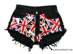 Runwaydreamz : Kate Vintage Union Jack Black Frayed Shorts