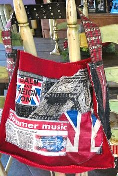 London Inspired upcycled handmade large tote with by StubbornJeans Denim Vests, Large Tote, Messenger Bag, Diaper Bag, Upcycle, Satchel, Trending Outfits, Handmade Gifts, London