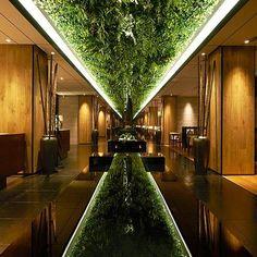 Arquitetura sustentável  Projeto marcado pelo uso do cinturão verde no teto sendo refletido pelo espelho. Detalhes que aliados a uma iluminação estratégica e ao uso de materiais industriais como bambu madeira pedras e ferro criam um ambiente diferenciado demonstrando a valorização pela terra que é um importante conceito na arquitetura japonesa.  ____________________________ Green Belt Lounge | Moonlit Garden Wuxi #inspiration #design #interiordesign #decoration #contemporary #home…