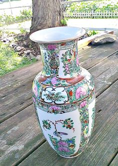 Vintage 1950 Quinlong Dynasty Chinese Vase Made in Hong Kong Hand painted in Canton Enamel Paints, Made in1940,Flowers and Birds