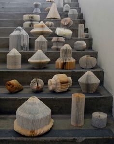 Book art sculptures. These remind us of party decorations but for a book freak birthday party!