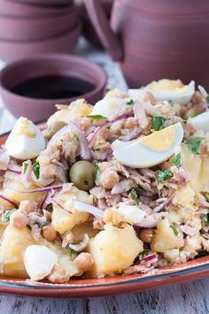 This tuna, potato and chickpea salad recipe is pure Portuguese comfort food. It's so easy and quick to make. This dish can be eaten hot or cold.