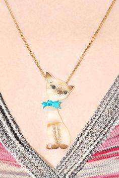 Siamese Cat Necklace - ivory by Tatty Devine