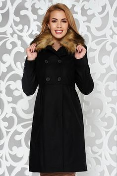 Black elegant wool coat with inside lining with pockets with faux fur accessory Faux Fur Accessories, Detachable Collar, Fur Collars, Wool Coat, November, Buttons, Pockets, Warm