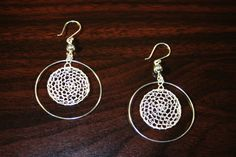 wire crocheted circle within circle earrings