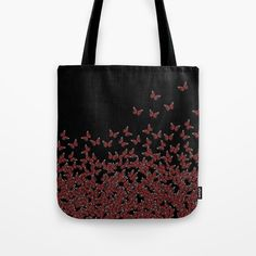 """#Butterflies, #butterfly Horde ;) flying insects themed #pattern, #red and #black, vector #design - Our #quality crafted #Tote #Bags are hand sewn in America using durable, yet lightweight, poly poplin fabric. All seams and stress points are double stitched for durability. They are washable, feature original artwork on both sides and a sturdy 1"""" wide cotton webbing strap for comfortably carrying over your shoulder. #handbags"""