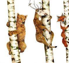 Print Bear Deer Fox Trees illustration Print by ChasingtheCrayon