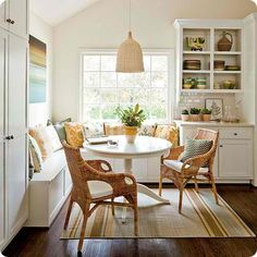 A nook for breakfast, coffee or reading a book. For the corner of the kitchen? if u can squeeze an XS table in there. One wall only couch beneath window. Use under area for storage