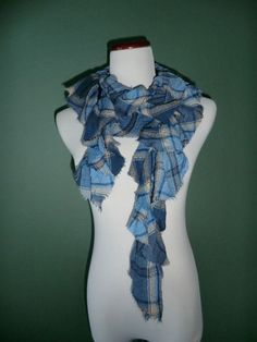 NEW GORGEOUS BLUE GEOMETRIC PRINT RUFFLED LAGENLOOK STYLE SCARF