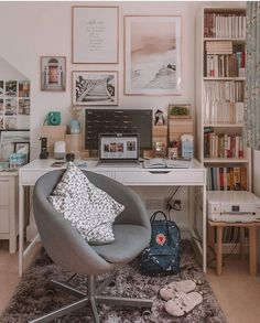 Study Room Decor, Cute Room Decor, Room Ideas Bedroom, Teen Room Decor, Home Office Decor, Home Decor, Teen Study Room, Office Room Ideas, Ikea Room Ideas