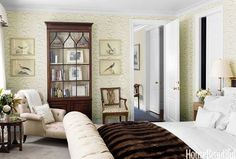 Room of the Day ~ a softly patterned wallpaper in cream, with brown accents, bird art, lots of texture in a favorite room by Markham Roberts 9.27.2014