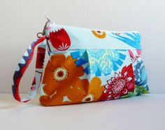 Wristlet Purse Zipper Pouch Summer Totem in Strudel Anna Maria Horner LouLouThi