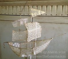 by Holly Abston.Instructions with photos on how to make your own version of this wire and lace ship. Craft Projects, Projects To Try, Diy And Crafts, Arts And Crafts, Shabby, Make Your Own, How To Make, Linens And Lace, Crafty Craft