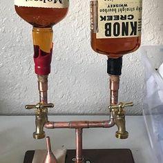 Items similar to The Server - Single Bottle Liquor Dispenser on Etsy Browning, Liquor Dispenser, Easy Fill, Pipe Decor, Liqueur, Assemblage, Handmade Copper, Bars For Home, Custom Items