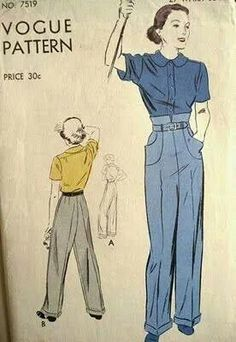 Vogue pattern 1940s style trousers, high waist