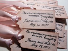 Wedding and Shower Favor Tags Vintage Style with Sparkle - Set of 10 for $17. Tags measure 2.5 x 1.5 inches. Created in a pale pink with matching ribbon. Ivory, mint, and tiffany blue are also available. Truly elegant!