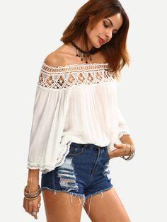 Off The Shoulder Crochet Hollow Out Shirt