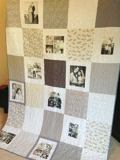 16 Photo Vintage Style Photo Memory Quilt  by MemoriesOnMaterial, $245.00