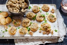 This walnut and garlic spread recipe is great to make and have in the fridge. It's even better made ahead of time. If you are feeling extravagant, . Nut Recipes, Vegetarian Recipes, Party Dip Recipes, Party Dips, Party Treats, Garlic Spread, Good Food, Yummy Food, Appetisers