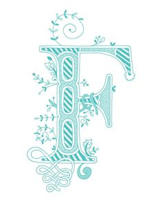 Hand drawn monogrammed print, 8x10, the Letter F, in the color blue