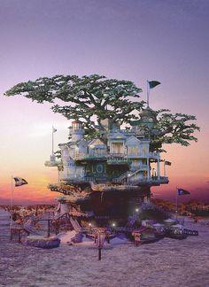 Bonsai worlds by Takanori Aiba. I wonder if my one-year-old Hawaiian umbrella tree bonsai could one day be the setting for a tiny fairy world like these. Tiny Paradise, Bonsai Art, Bonsai Trees, Magic Garden, Cool Tree Houses, Amazing Houses, In The Tree, Japanese Artists, City Photography