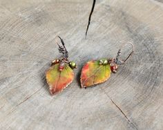 Autumn leaf earrings Fall leaves jewelry by JewelryByCompliment