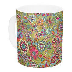 East Urban Home My Butterflies & Flowers in by Julia Grifol 11 oz. Rainbow Floral Ceramic Coffee Mug