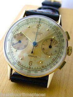 1940s Universal Geneve Compus Chronograph with beautiful original dial #luxurywatch #UniversalGeneve Universal Geneve Swiss Watchmakers watches #horlogerie @calibrelondon