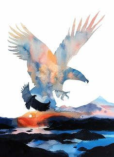 - Watercolor Painting by Joe Cibere - Eagle's Dream - Eagle Artwork, Bird Artwork, Watercolor Trees, Watercolor Paintings, Watercolor Portraits, Watercolor Landscape, Abstract Paintings, Watercolors, Eagle Painting