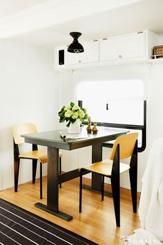 This is a camper???  Awesome!  Ellen Pompeo Trailer - Dining Room After Makeover
