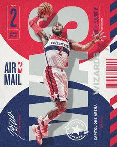"""I& been working on a new series, NBA Air Mail, that combines type and design elements from travel and mail-related tags, tickets and packaging to showcase stars who deliver dunks and daggers. Sports Graphic Design, Graphic Design Posters, Graphic Design Typography, Graphic Design Inspiration, Sport Design, Football Design, Basketball Design, Basketball Photos, Nba Basketball"