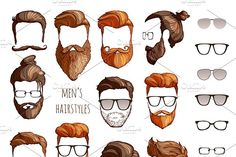 hairstyles, beards glasses - Illustrations - 1