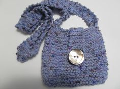 Handknit Cottonblend Small Purse by SusanDeanne on Etsy