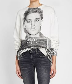 Elvis Mugshot Cotton Sweatshirt.  A boxy fit and a black and white print of Elvis Presley informs this casual cotton sweatshirt, making it a statement addition to any off-duty rotation.