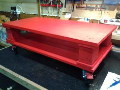 Red pallet coffee table #CoffeeTable, #Pallet, #Recycled