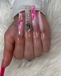 Pink Glitter Nails, Bling Acrylic Nails, Square Acrylic Nails, Best Acrylic Nails, Acrylic Nail Designs, Drip Nails, Aycrlic Nails, Nail Nail, Stylish Nails