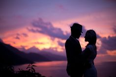 Amazing wedding sunset picture