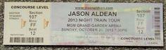 JASON ALDEAN NIGHT TRAIN ORIGINAL CONCERT USED TICKET,MGM VEGAS, OCTOBER 20 2013