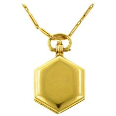 Hexagonal Multipage Locket Necklace With Four Photo Compartments | From a unique collection of vintage more necklaces at https://www.1stdibs.com/jewelry/necklaces/more-necklaces/