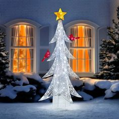 the 5 12 led twinkling tree with cardinals outdoor christmas decoration features