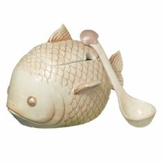 Fish Chowder Tureen with Lid And Seashell Ladle