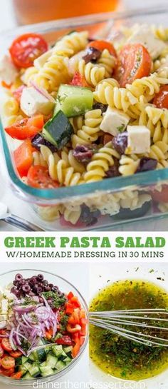 Easy Greek Pasta Salad with feta, a homemade vinaigrette, pasta, and olives is a perfect, easy lunch you can enjoy at room temperature in 30 minutes! #pasta #pastasalad #greek #feta #summer #side #vegetarian #dressing #healthy #dinnerthendessert